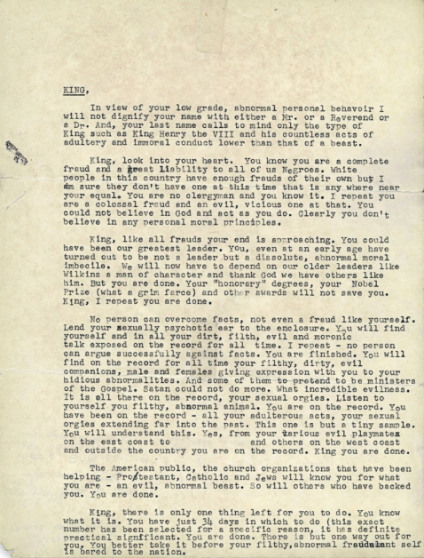 Martin Luther King hate letter